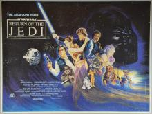 Star Wars Return of the Jedi (1983) Rare printers proof British Quad film poster, 20th Century Fox, rolled, 31 x 41 inches This poster did not go though the final stage of the print process when the borders were cut to size. This was probably because it was pulled from the production line as a printer's reference proof to check that the colours were still true as the print run progressed and then stored in the printer's files.