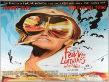 Fear and Loathing In Las Vegas (1998) British Quad film poster, directed by Terry Gilliam, artwork by Ralph Steadman, rolled, 30 x 40 inches