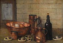 Mary Remington 1910-, 'Eggs in the copper bowl',