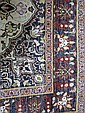 Persian silk brown ground rug with a central rose shaped medallion