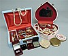 Quantity of costume jewellery, small 9ct gold earrings and compacts