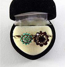Garnet set floral dress ring and a cluster ring with turquoise stones both 9 ct gold