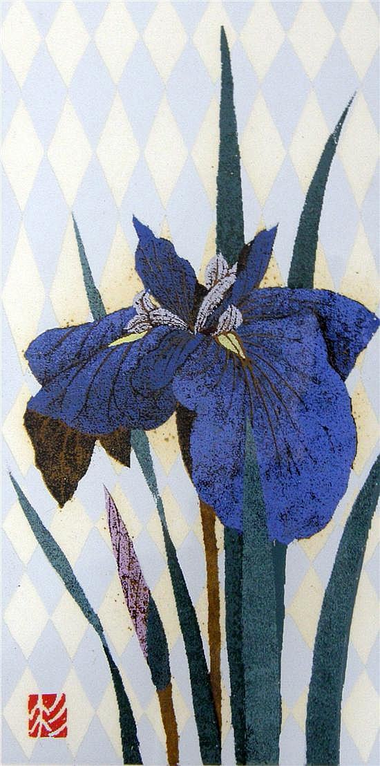 Kazutoshi Sugiura (1938-) ' Irises no 30.' limited edition wood block print on silk signed in pencil 97/105 and dated 82