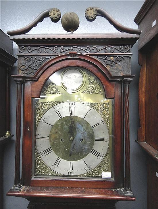George III mahogany longcase clock, the hood with spiral turned columns and swan neck pediment, by Dan Brown Glasgow,
