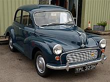 1969 Morris Minor Saloon registration YPL 323H, blue, approx mileage 45,000, 1098 cc, petrol, no current M.o.t or tax