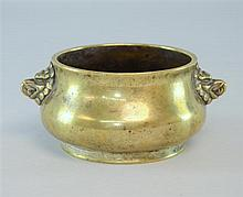 Chinese bronze twin-handled censer with character mark to base with beast mask handles (diameter 5