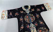 Chinese silk embroidered in Peking knot stitch , peonies and two roundels with a maiden in a landscape ,