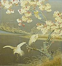 Late 19th century / early 20th century Oriental silk panel decorated with birds set into a later fire screen