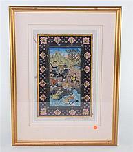 Pair of Persian watercolours of hunting scenes