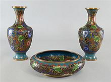 Pair of 20th century Chinese cloisonne vase's 10
