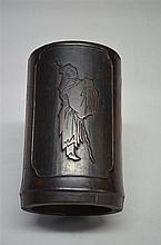 Bamboo cyrlindrical brush pot carved with figure