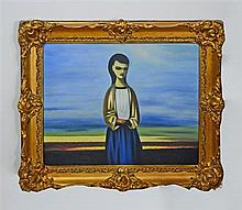 In the manner of Daniel O' Neill, oil on canvas of a woman, framed