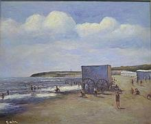 Cam, beach scene, oil on canvas, signed, framed,