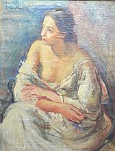 Contardo Barbieri, 1900-1966 - portrait of a woman, signed, oil on canvas, inscribed verso