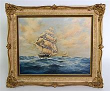 Brian Jones, ship at sea, signed and dated '87, oil on canvas,