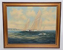 Brian Jones, yachts at sea, signed, oil on canvas,