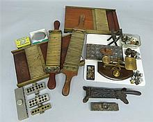Collection of 19th Century apothecary apparatus to include pill maker, scales etc.
