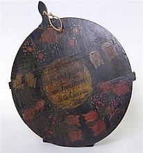 Austrian painted cheeseboard, painted with motto and dated 1898 diameter 24