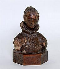17th Century Dutch carved bust of a woman on a later base