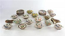 Early 20th century Chinese soup bowls with lids, plates and soup spoons (15), various sizes, stamped CHINA to base