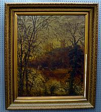 19th Century English school, landscape with Cathedral, oil on canvas, unsigned