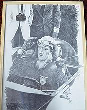 § Ian Male - original pencil and charcoal etching of racing driver Goldie Gardner.