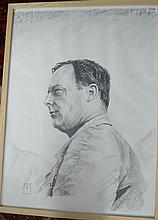 § Ian Male - original pencil and charcoal etching of racing driver Donald Campbell,