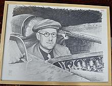 § Ian Male - original pencil and charcoal etching of racing driver George Eyston,