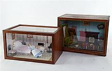 Dolls house greenhouse and six dolls house room settings with glazed fronts