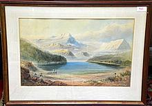 W.H. Rayworth, Lake Sumner, Canterbury, New Zealand, 19th Century watercolour, signed and dated 1873