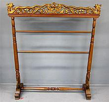 Indonesian indigenous carved wood and tapestry rail