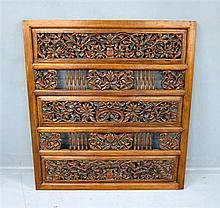 Indonesian indigenous carved wood panel