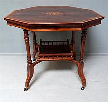 19th century rosewood, satinwood and parquetry inlaid octagonal table with galleried undershelf