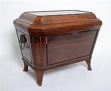 William IV mahogany cellarette resting on square legs with sarcophagus top