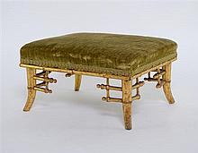 Regency carved oak and gilded chinoiserie style footstool possibly Morants and sons