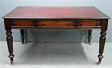 19th century style mahogany library table, the top with six drawers on turned tapering readed legs