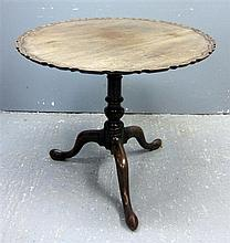 George III mahogany circular tilt top table on splay feet, 31
