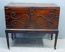 19th Century camphor wood continental trunk on stand with stud decoration