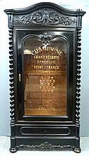 19th century French ebonised and carved Champagne display cabinet with motto sign written glass front