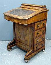 19th Century walnut Davenport