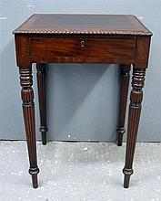 Mahogany Regency style work table in the manner of Gillows with a single drawer enclosing compartments