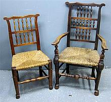 Harlequin set of eight 19th century country made dining chairs with reeded seats