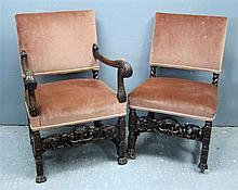 Set of eight ( 6 +2 ) 19th Century oak chairs with padded back and carved with foliate froms