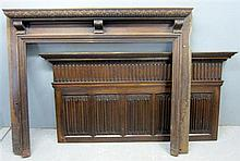 Early 20th century oak mantel piece with linenfold decoration