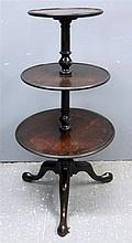 19th century mahogany three tier dumb waiter on tripod base