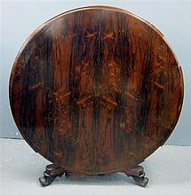 19th century rosewood breakfast table on column support to triangular base