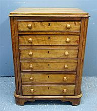 19th century satinwood chest of six long drawers on plinth base