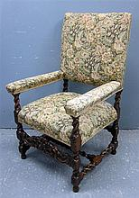 18th century style oak framed arm chair with padded back and seat