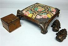 Carved oak gothic design footstool with tapestry seat and a walnut veneer lead lined tobacco box