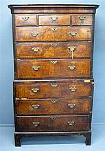 Late 18th/early 19th century walnut crossbanded chest on chest three short and three long drawers base with three drawers